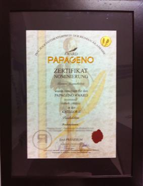 Papageno Award Zertifikat
